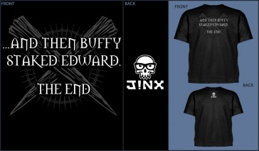 Camiseta Jinx Buffy Staked Edward Black - Talla S
