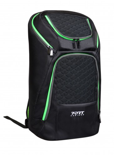 Mochila Gaming Port Designs negra-verde